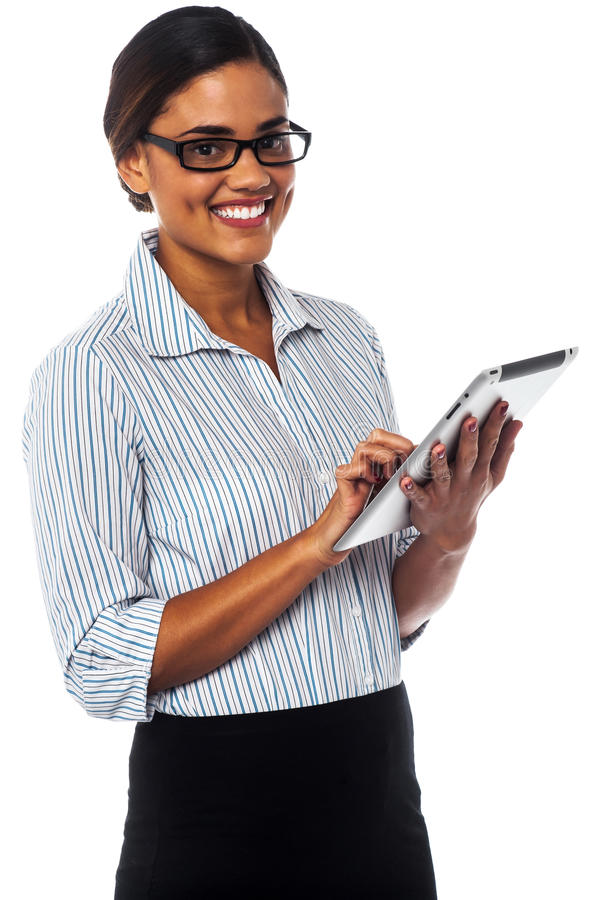 Download Corporate Lady Using Touch Pad Device Stock Photo - Image: 33497454