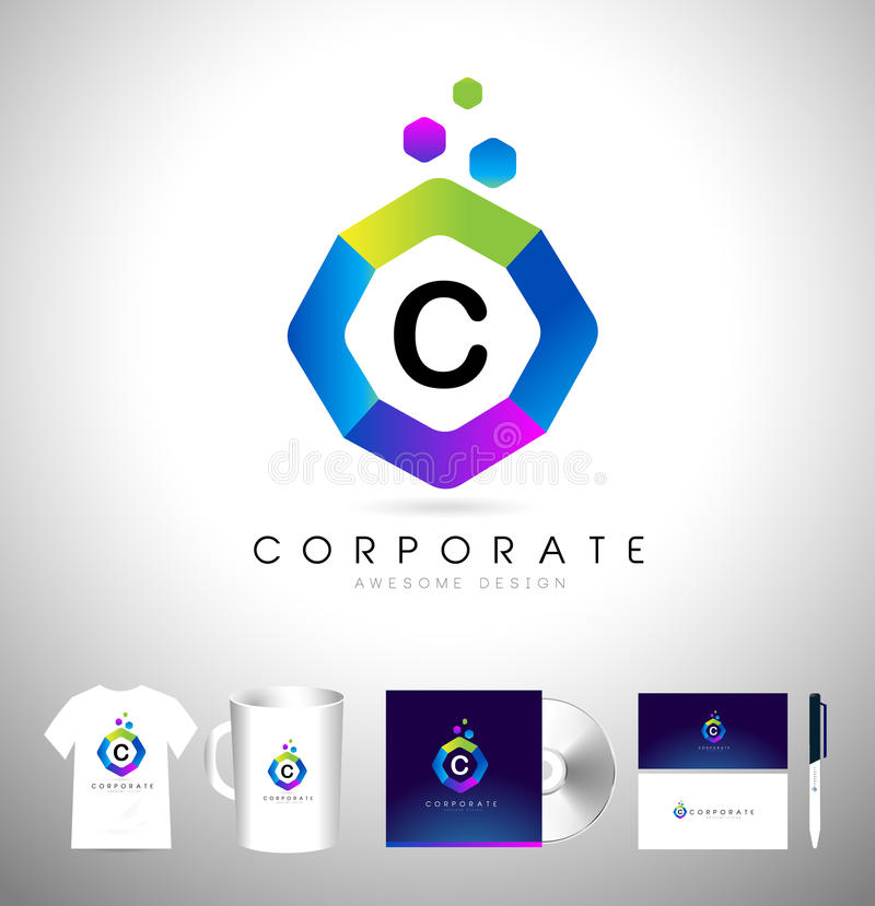 Corporate Logo Hexagon. Hexagonal Business Creative Logo vector illustration