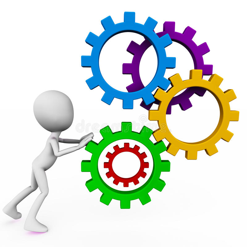 Corporate machinery. Man figure pushing cogs or gear machinery on white space in color, showing concept of running the corporate with diligence and effort vector illustration