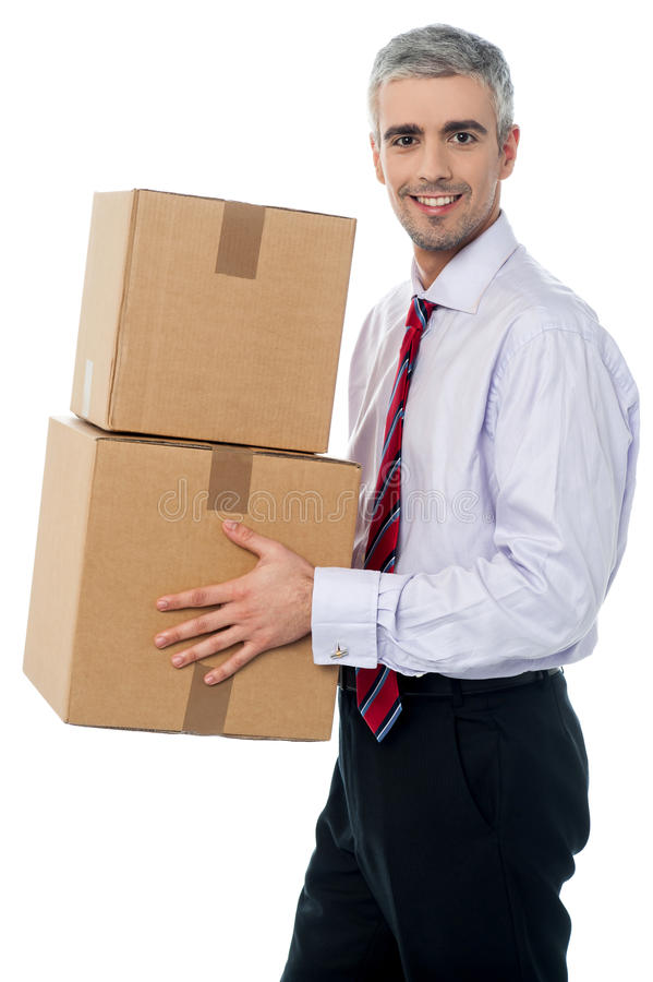 Download Corporate Man With A Cardboard Box In Hand Stock Images - Image: 38710694