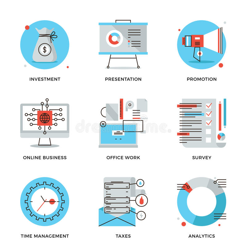 Corporate management elements line icons set vector illustration
