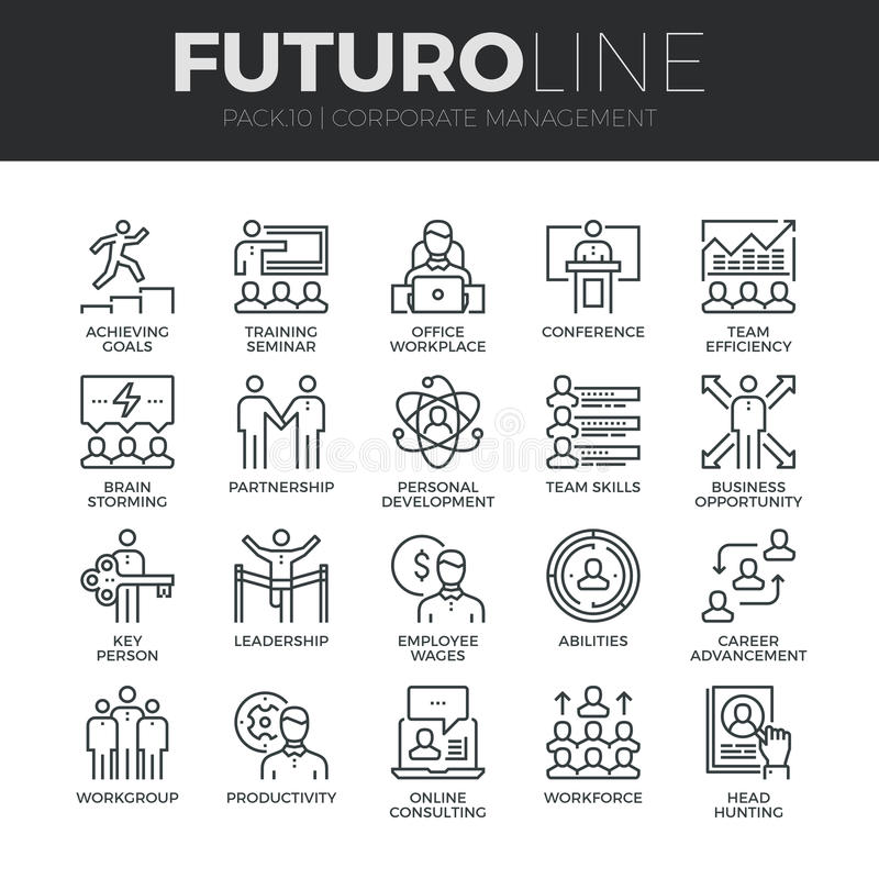 Corporate Management Futuro Line Icons Set stock illustration