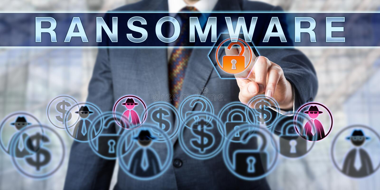 Corporate Manager Touching RANSOMWARE. Corporate manager is touching RANSOMWARE on an interactive control screen. Information security concept for the crime of royalty free stock photography