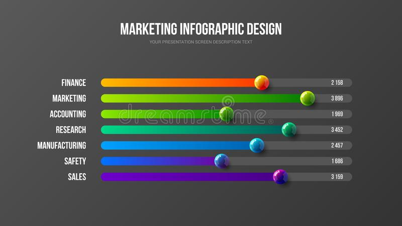 Corporate marketing analytics report horizontal bar chart design layout. Business infographic presentation vector 3D colorful balls illustration. Corporate royalty free illustration
