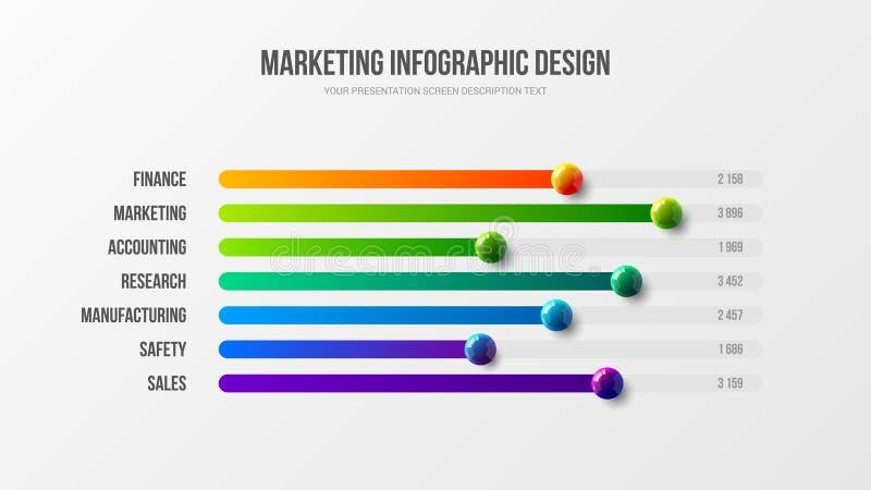 Corporate marketing analytics report horizontal bar chart design layout. Business infographic presentation vector 3D colorful balls illustration. Corporate stock illustration