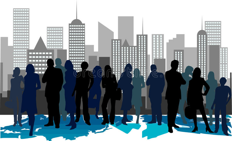 Corporate meeting in city stock illustration