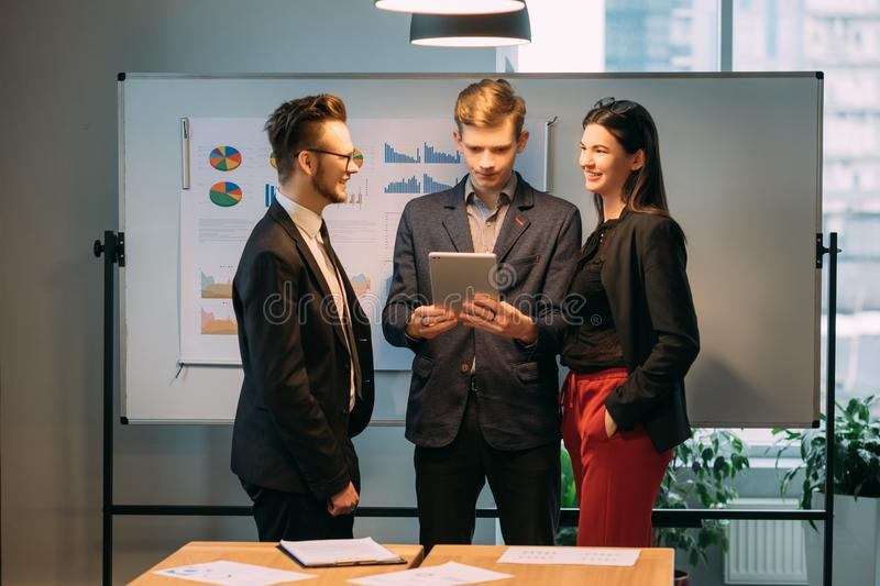 Corporate meeting modern information technology royalty free stock photography