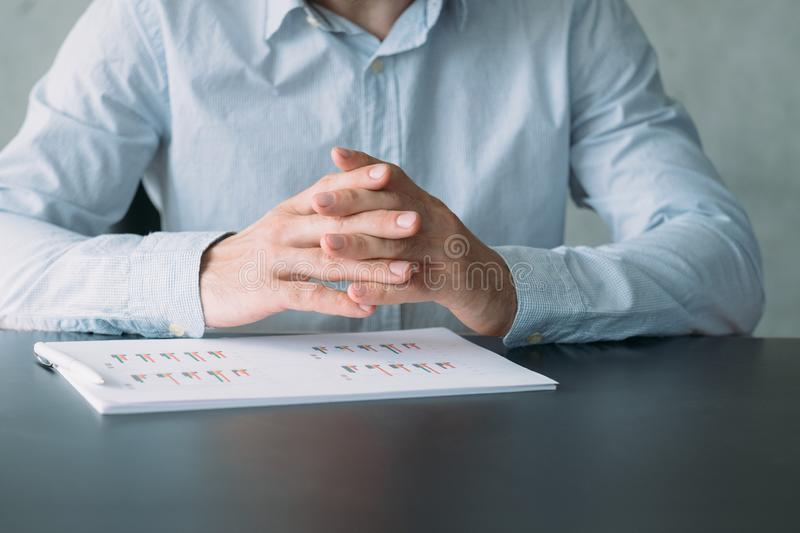 Corporate meeting project manager desk graphs stock photo