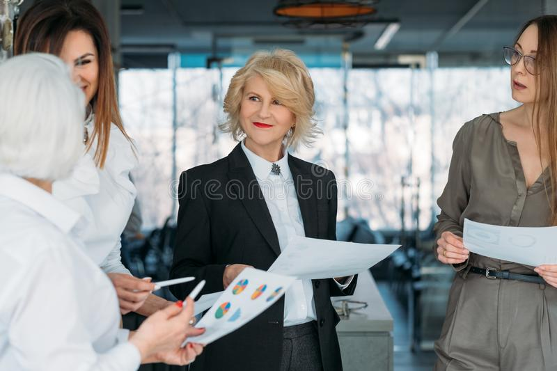 Corporate meeting successful business women royalty free stock photography