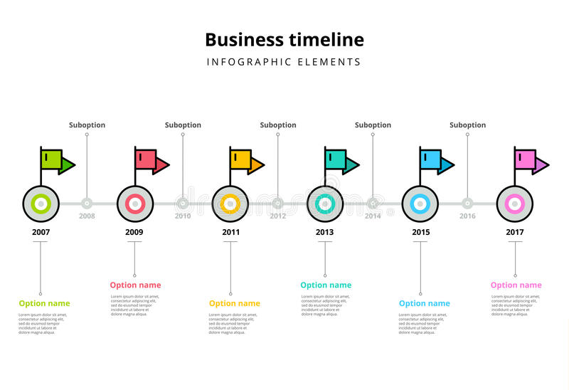 Corporate milestones graph elements. Business timeline in step c. Ircles with flag pointers infographics. Company presentation roadmap template. Modern vector royalty free illustration