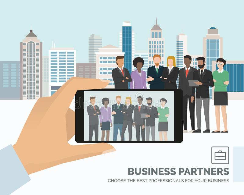 Businesspeople posing together stock illustration