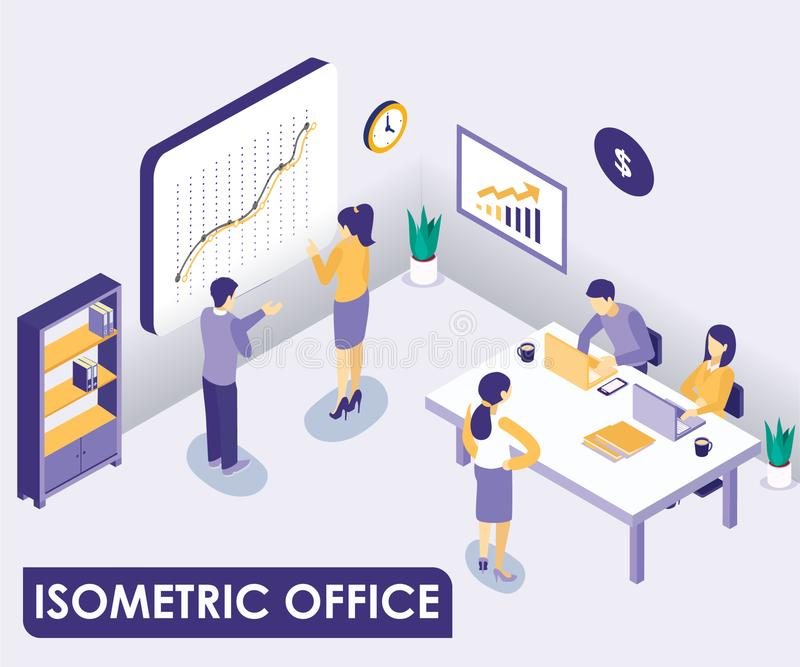 Corporate office interior Isometric Artwork Concept stock illustration