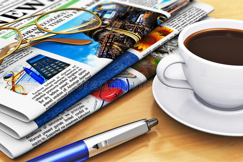 Newspapers and coffee on office table. Corporate office life and business break concept: newspapers with business news, cup of fresh black coffee, eyeglasses and vector illustration