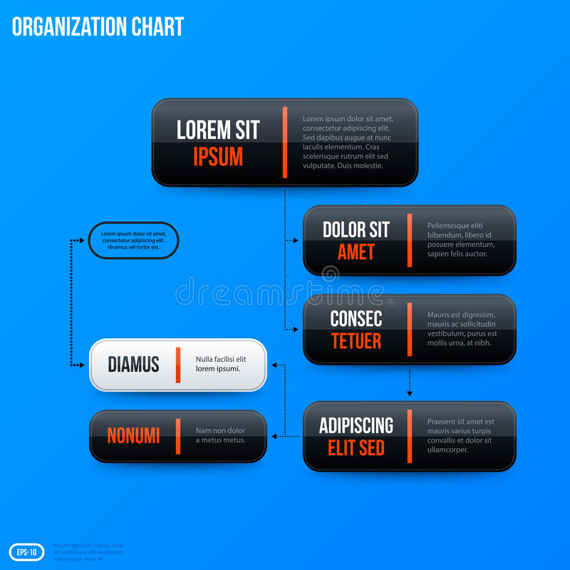 Corporate organization chart template on bright blue background. Corporate business organization chart template on bright blue background. Useful for stock illustration