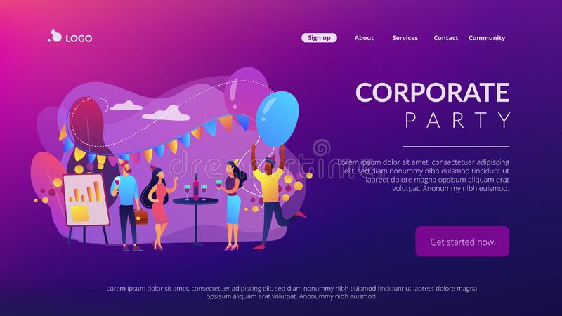 Corporate party concept landing page. royalty free illustration
