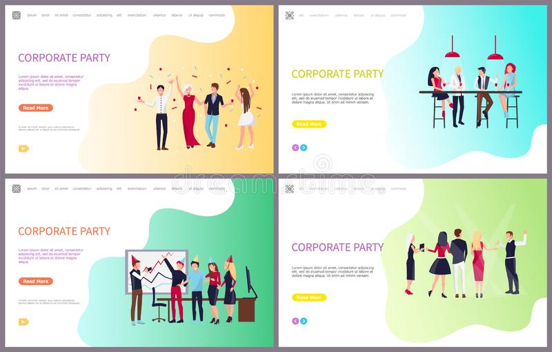 Corporate Party of Workers Having Fun Together. Vector. Holiday celebration and team building, coworkers with wine drinks sitting and chatting at bar royalty free illustration