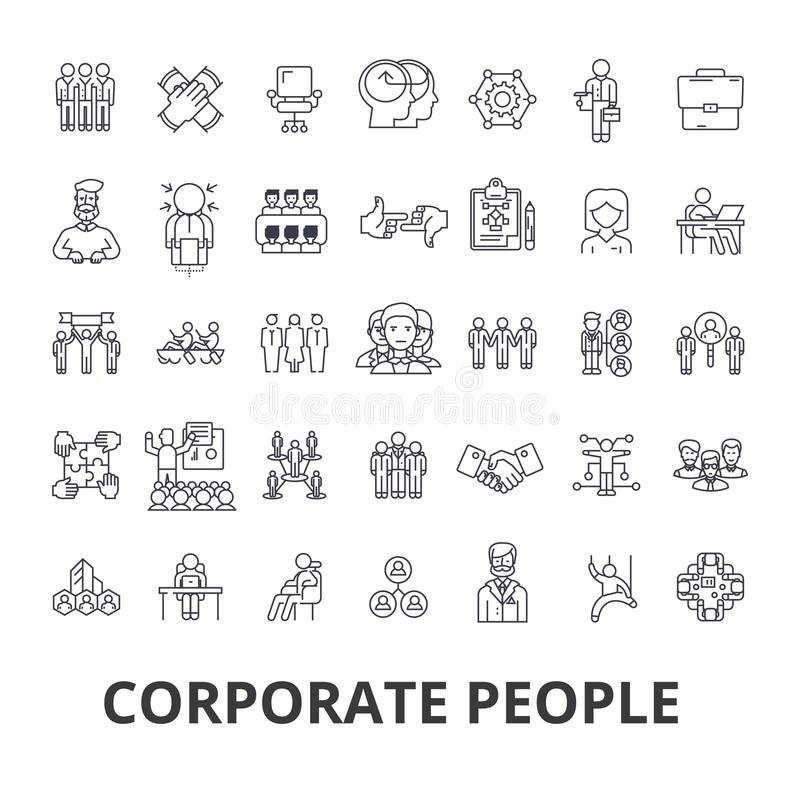 Corporate people, corporate identity, business, train, corporate event, office line icons. Editable strokes. Flat design. Vector illustration symbol concept royalty free illustration