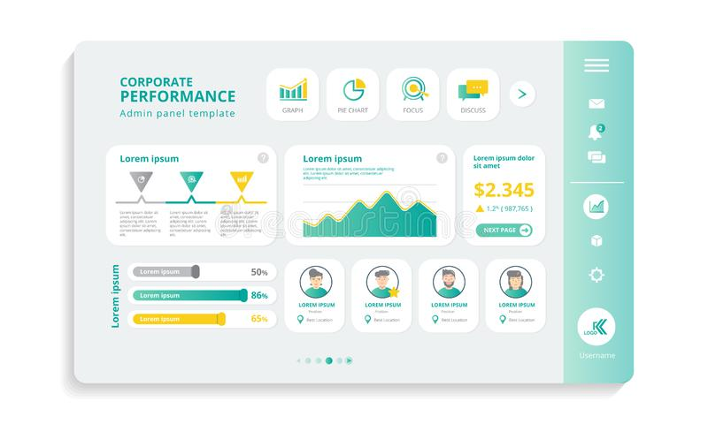 Corporate Performance, Admin Panel Info Grafikvorlagen stock abbildung