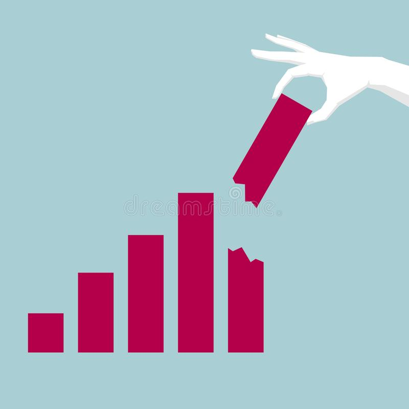 Corporate performance report, one hand pick up bar chart. Corporate performance report, one hand pick up bar chart,background is blue royalty free illustration