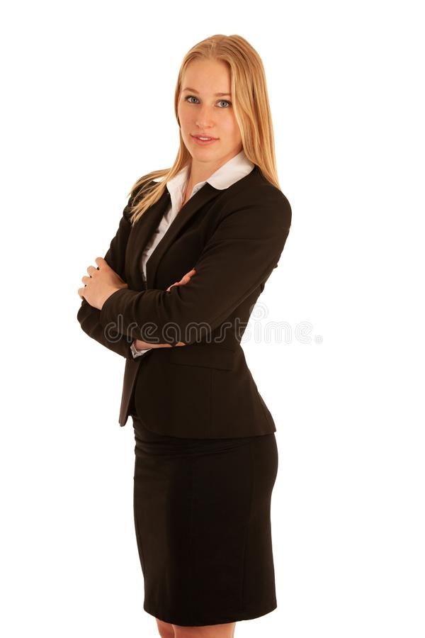 Corporate portrait of a beautiful blonde woman isolated over white background royalty free stock images