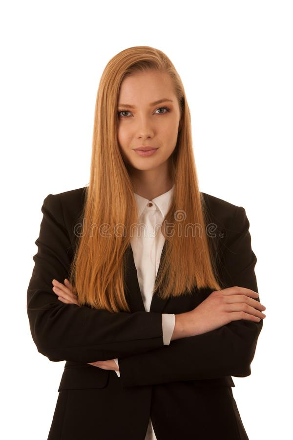 Corporate portrait of a beautiful business woman isolated over w royalty free stock photography