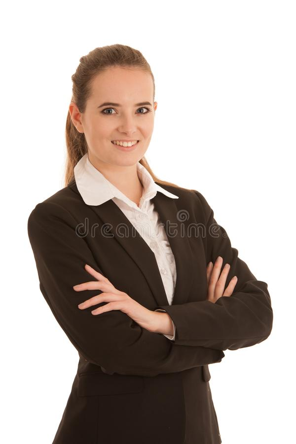Corporate portrait of a beautiful business woman isolated over w stock images