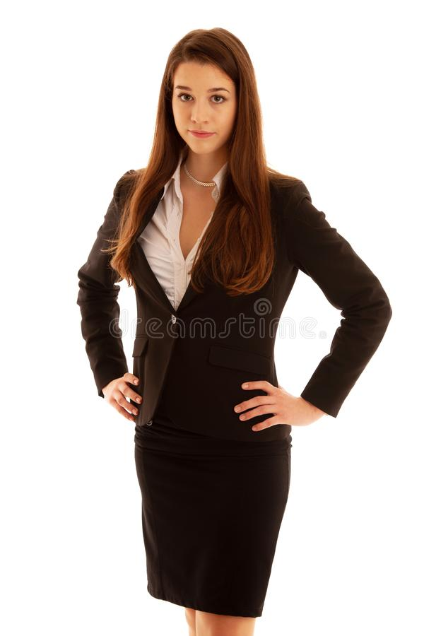 Corporate portrait of a beautiful young caucasian brunette woman isolated over white background royalty free stock photos