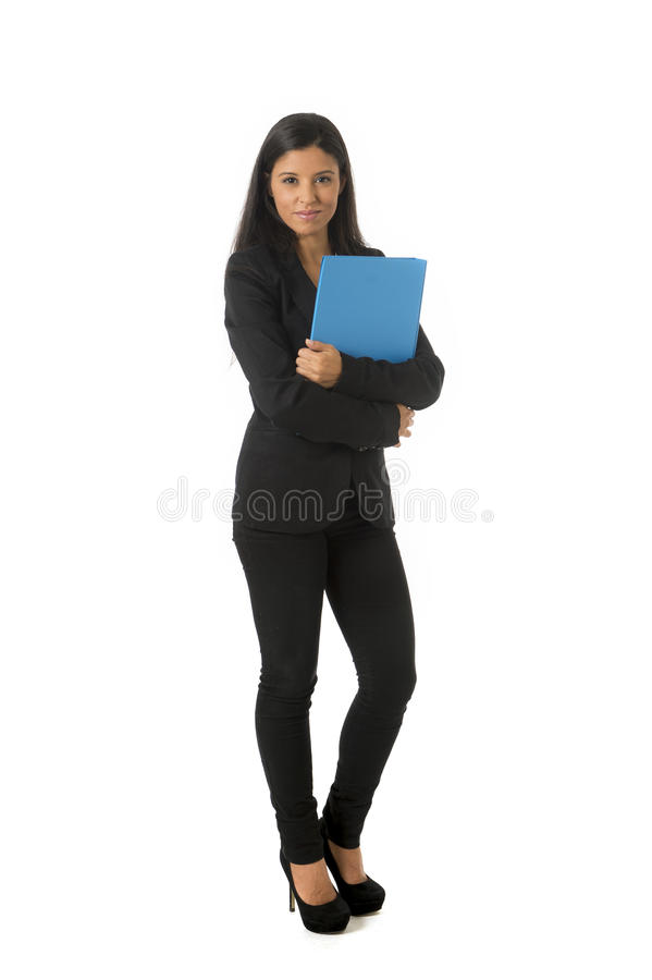 Corporate portrait young attractive latin businesswoman happy holding folder isolated white background royalty free stock photography