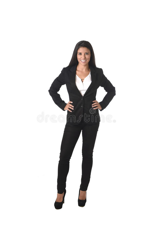 Corporate portrait of young attractive latin businesswoman in office suit smiling happy royalty free stock photos