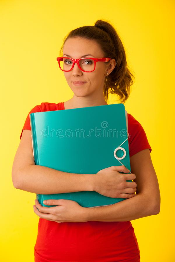 Corporate portrait of young beautiful caucasian business woman s stock photo