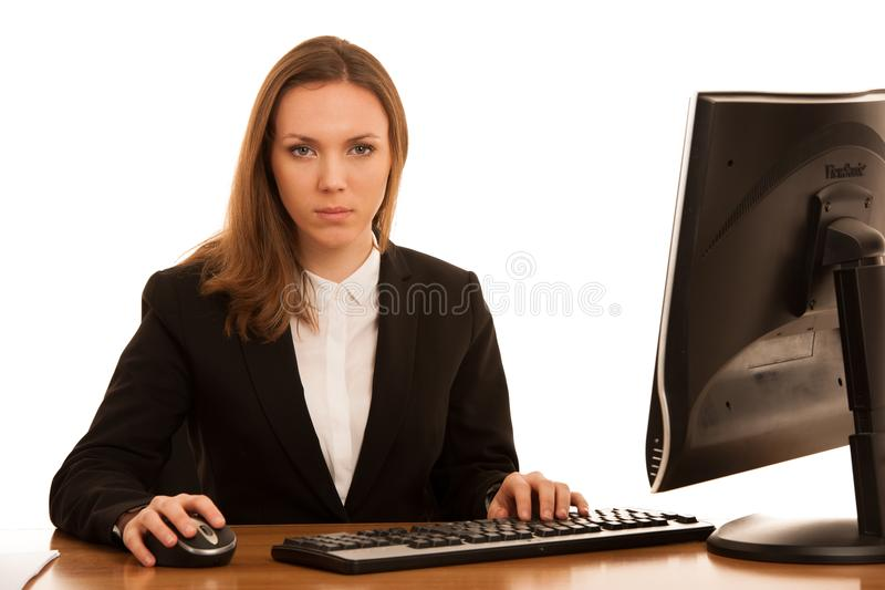 Corporate portrait of young beautiful caucasian business womanwork in the office isolated over white background royalty free stock photo