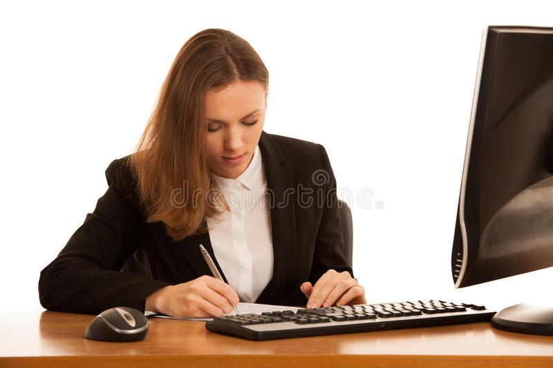 Corporate portrait of young beautiful caucasian business womanwork in the office isolated over white background royalty free stock photos