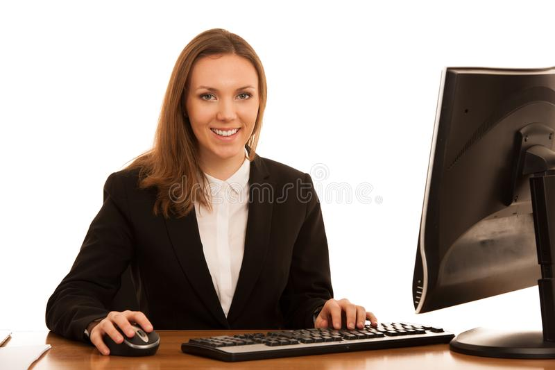 Corporate portrait of young beautiful caucasian business womanwork in the office   over white background stock photo