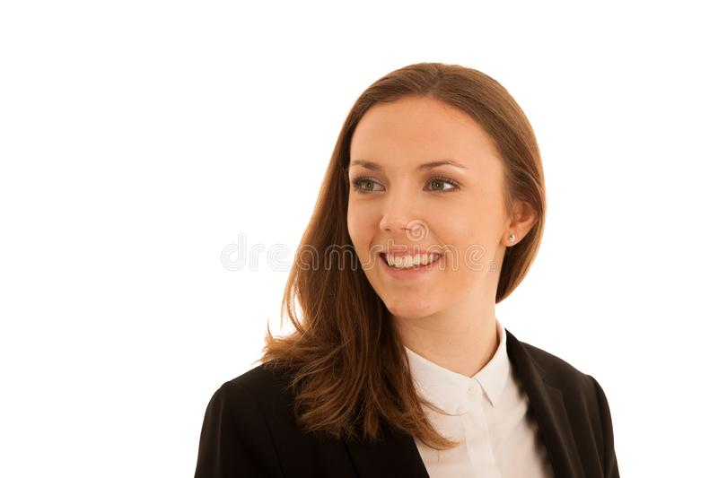 Corporate portrait of young beautiful caucasian woman isolated over white background royalty free stock photography