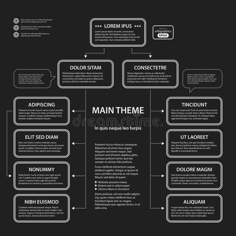Corporate presentation template. On dark background. Black and white colors. Useful for advertising, presentations and web design stock illustration