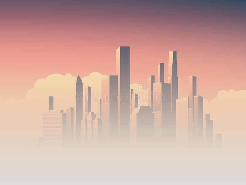 Corporate skyline with high rise skyscrapers in morning sunrise haze, pink and purple sky background. Business cityscape vector illustration