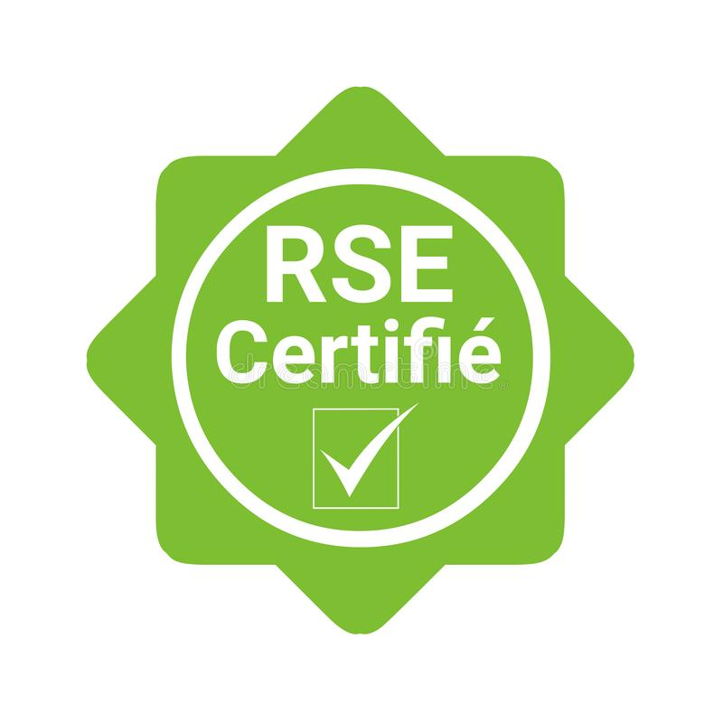 Corporate social responsibility certified badge called RSE in French stock illustration