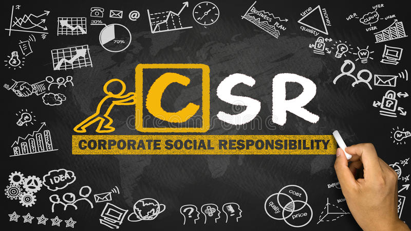 corporate social responsibility concept hand drawing on blackboard royalty free stock photo