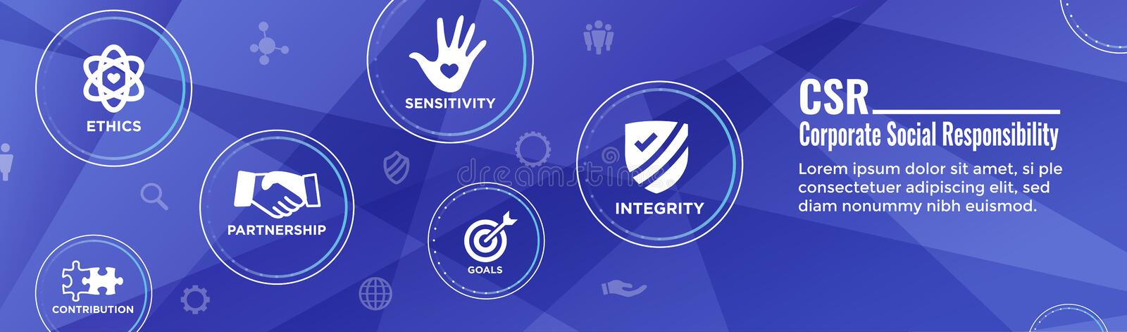 Social Responsibility Header Web Banner w Honesty, integrity, collaboration, Web banner header royalty free illustration