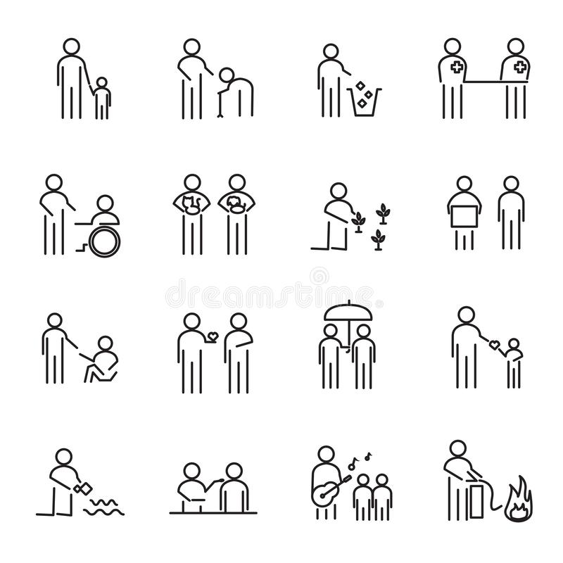 Corporate Social Responsibility people thin line icon set vector. CSR charity project for helping world an people concept. Sign royalty free illustration