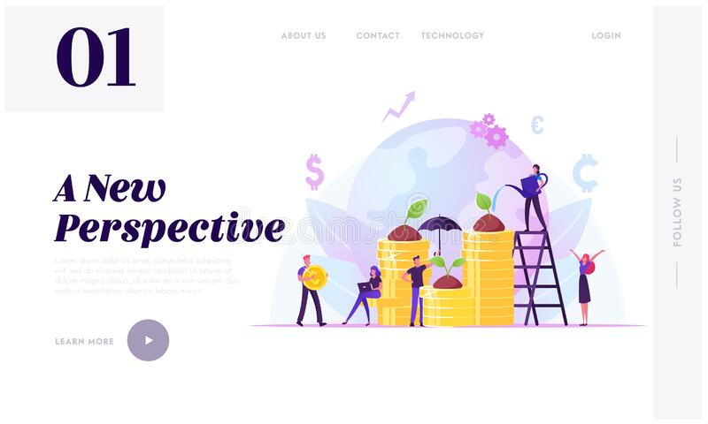 Corporate Social Responsibility Website Landing Page. Tiny People Growing Plants on Coins. Fair Rights Organization royalty free illustration