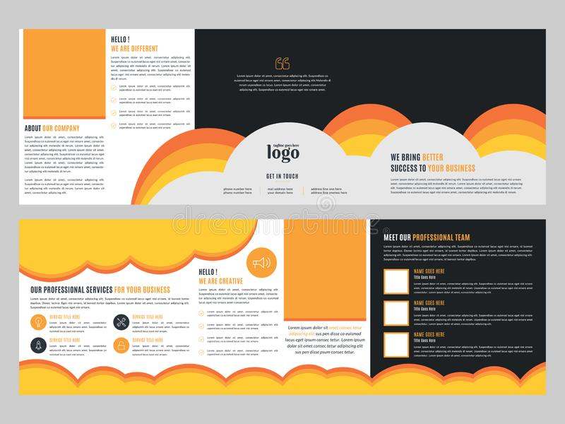 Corporate Square Trifold Brochure Template, Business Leaflet Design vector illustration