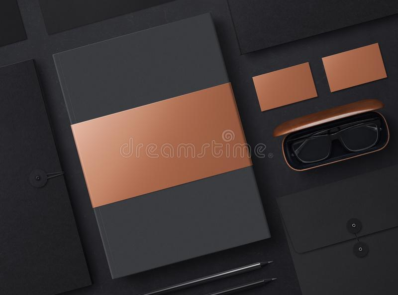 Mock-up. Template for branding identity. Corporate stationery set at black textured paper background. Sheets of paper, folder, glasses and business cards stock illustration