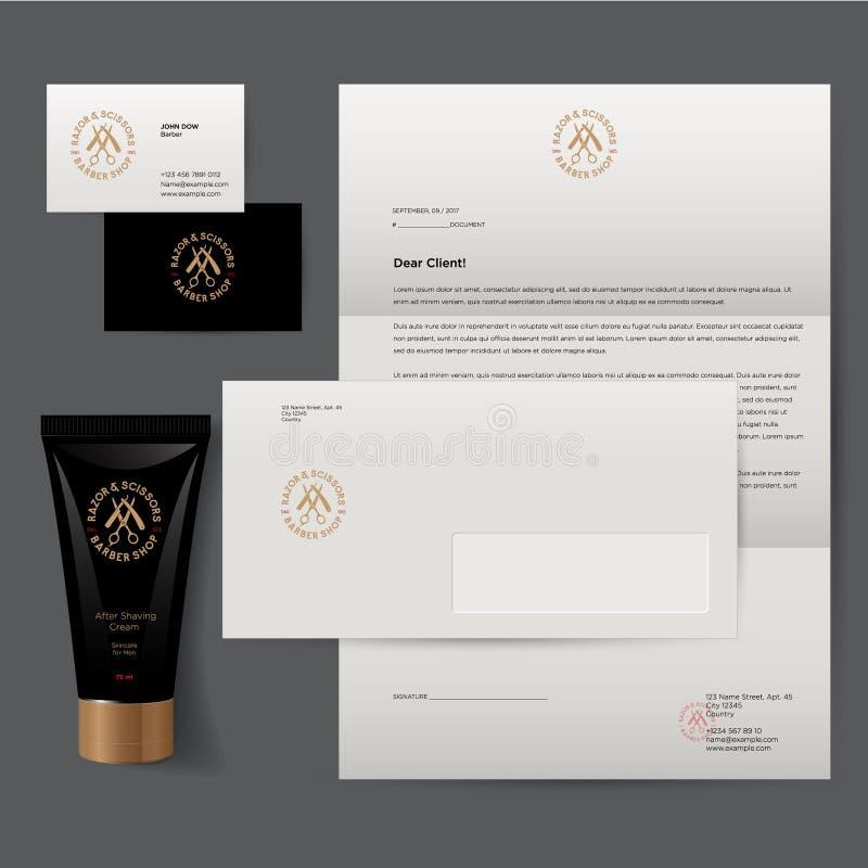 Barbershop logo and identity. Men`s cosmetics logo emblem. vector illustration