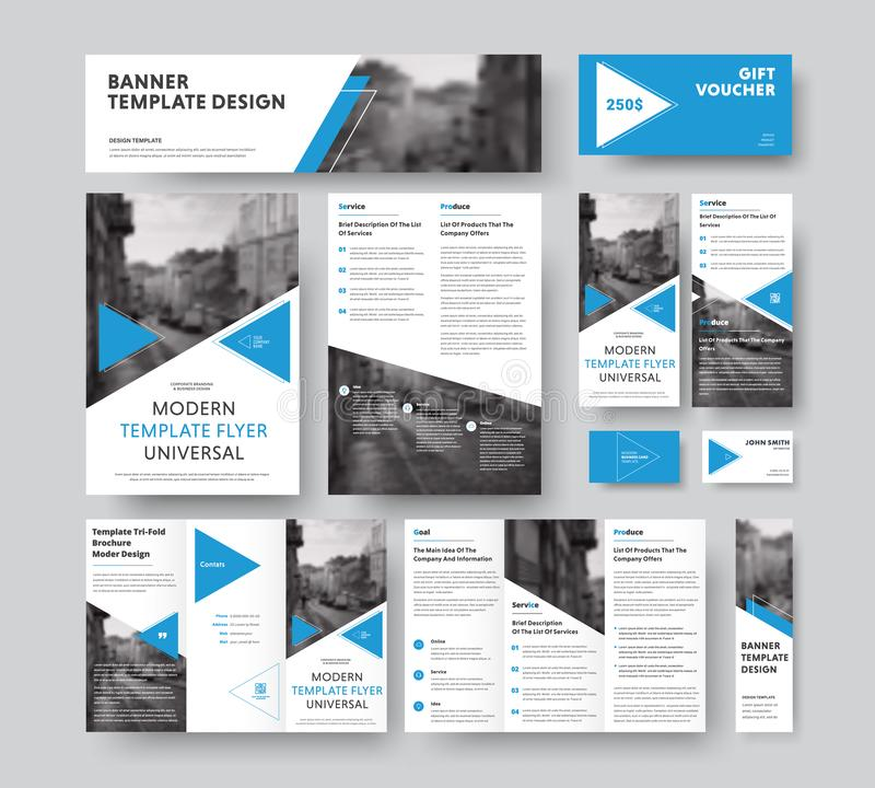 Corporate style set with triangular blue design elements, diagonals and a place for photos. Vector flyer templates, brochures, vouchers, cards and banners royalty free illustration