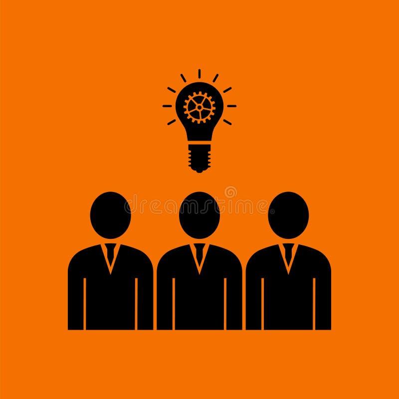 Corporate Team Finding New Idea Icon. Black on Orange Background. Vector Illustration stock illustration