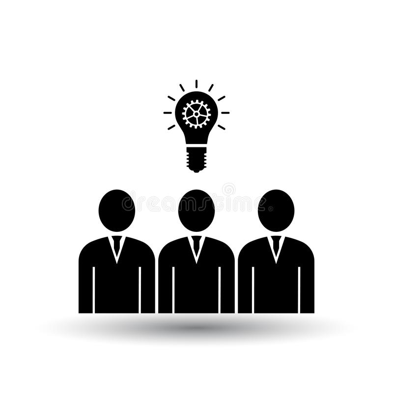 Corporate Team Finding New Idea Icon. Black on White Background With Shadow. Vector Illustration royalty free illustration