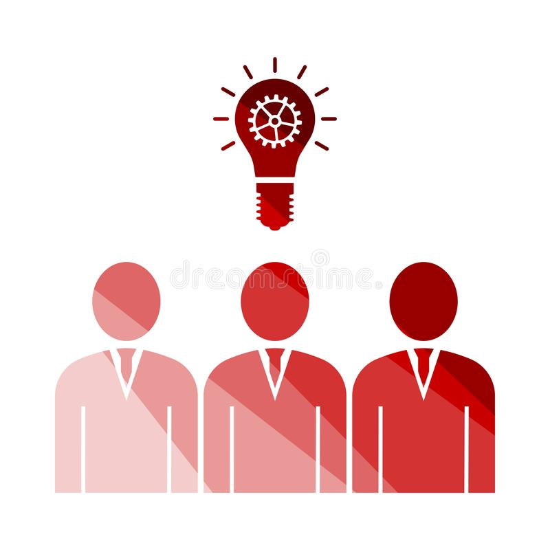 Corporate Team Finding New Idea Icon. Flat Color Ladder Design. Vector Illustration royalty free illustration