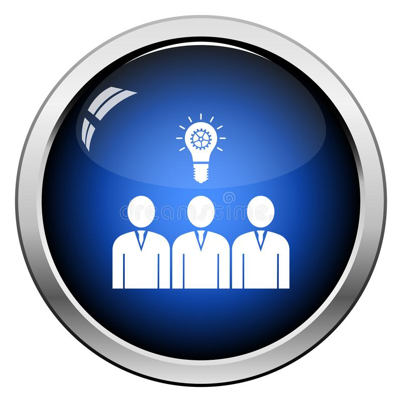 Corporate Team Finding New Idea Icon. Glossy Button Design. Vector Illustration stock illustration