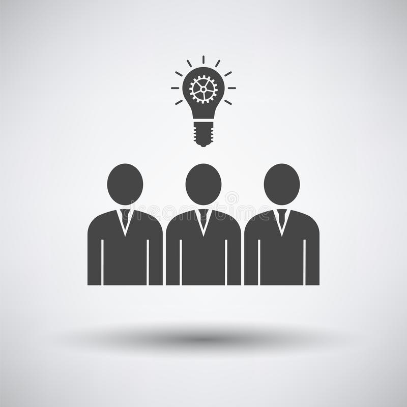 Corporate Team Finding New Idea Icon. On gray background, round shadow. Vector illustration royalty free illustration
